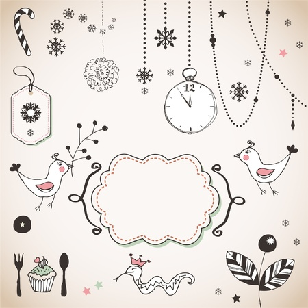 label frame: Hand Drawn christmas ornaments Illustration