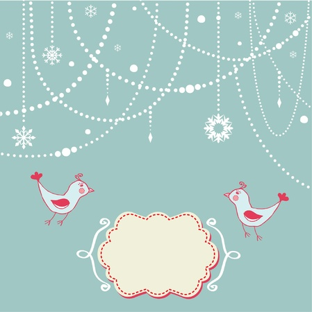 Abstract christmas background with birds Vector