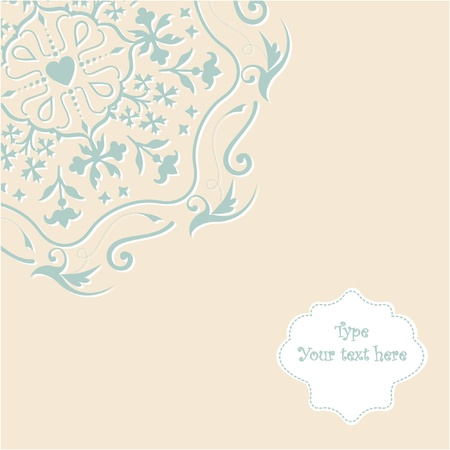 Invitation card on pastel background with lace ornament  Vector