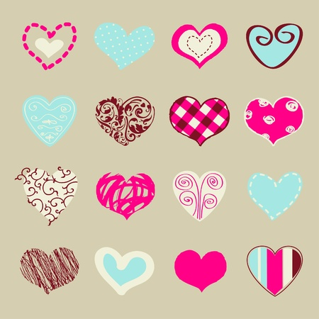 Set of hand drawn hearts for You  Vector