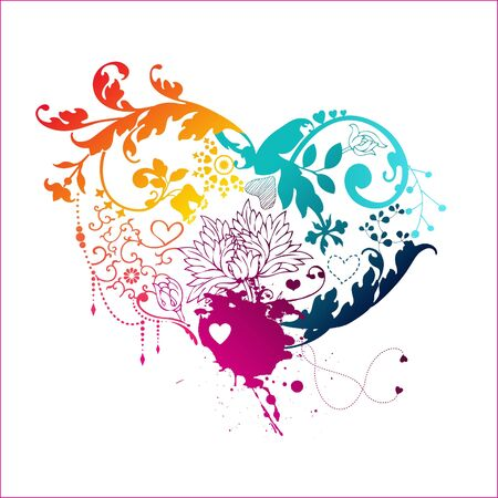 Decorative rainbow heart with floral elements  Vector