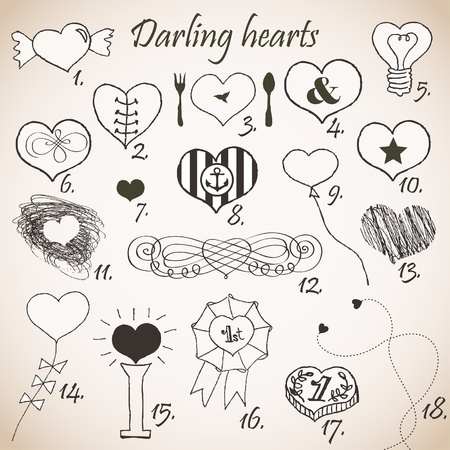 Set of stylized hand drawn hearts  Vector
