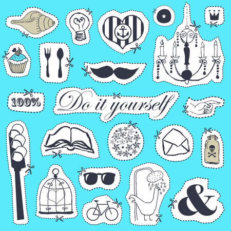 set of hand drawn objects in vintage style Stock Vector - 18169457