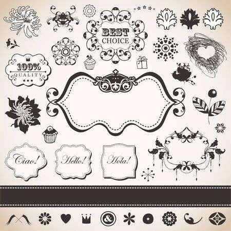 set with vintage elements for You  Vector