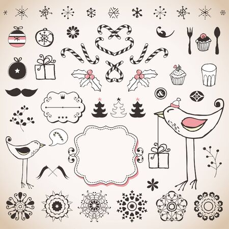 Vintage Christmas set  Stock Vector - 18169443