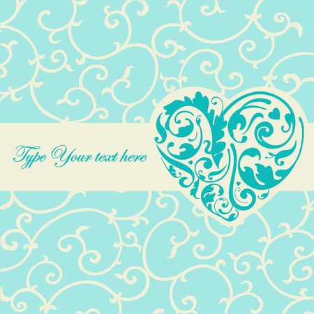 victorian wallpaper: Elegant turquoise card with heart shape
