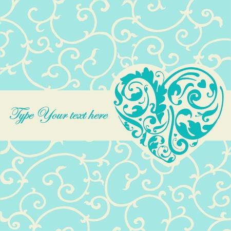 papel tapiz turquesa: Tarjeta elegante de color turquesa con forma de corazón