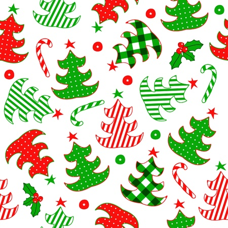Seamless pattern with Christmas tree  Vector