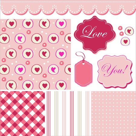 Vintage pink pattern, frames and cute romantic backgrounds  Vector
