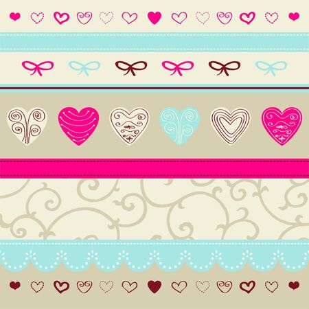 Romantic pattern with hand drawn hearts Stock Vector - 18169424