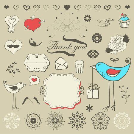 Mooie romantische set voor uw ontwerp Stock Illustratie
