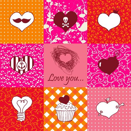 Stylish set of nine hand drawn hearts  Stock Vector - 18175430