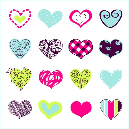 polka dot background: Set of hand drawn hearts for You  Illustration