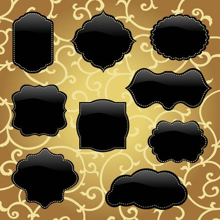 Shiny black frames with golden background  Vector