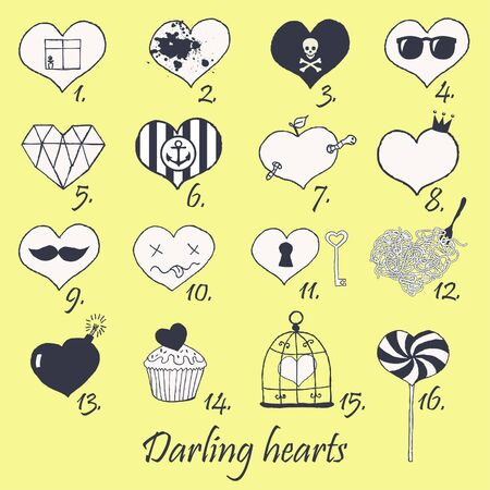 Set of stylized hand drawn hearts  Stock Vector - 18173145