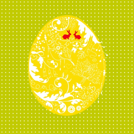 Easter card with stylized floral egg Vector
