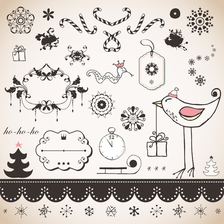 Vintage Christmas set Stock Vector - 18175646