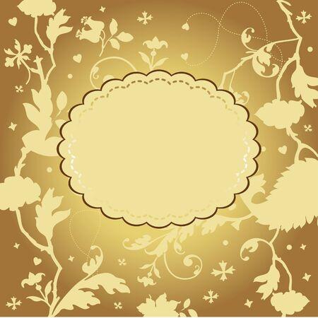 Golden floral card Stock Vector - 18175805