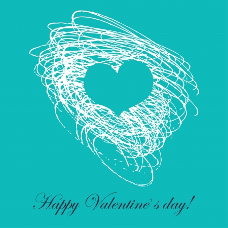Lovely card with hand drawn heart  Vector
