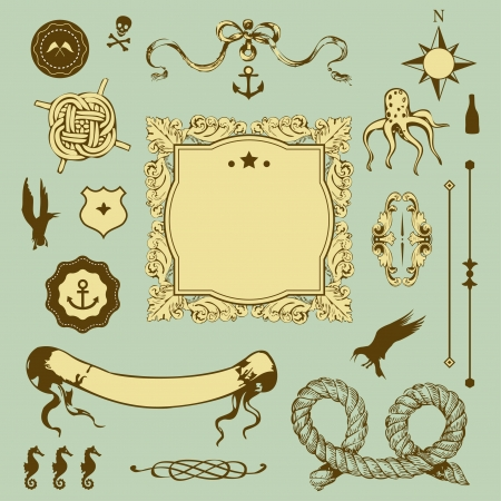 Nautical set with elements for Your design
