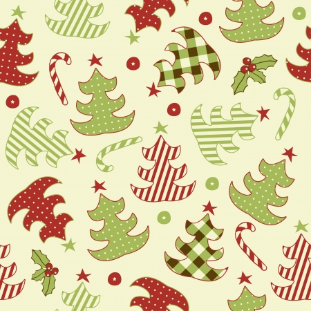 Seamless retro pattern with Christmas tree  Vector