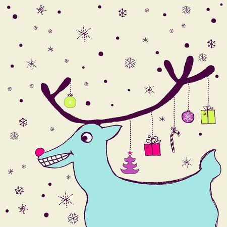 Funny holiday card with friendly reindeer