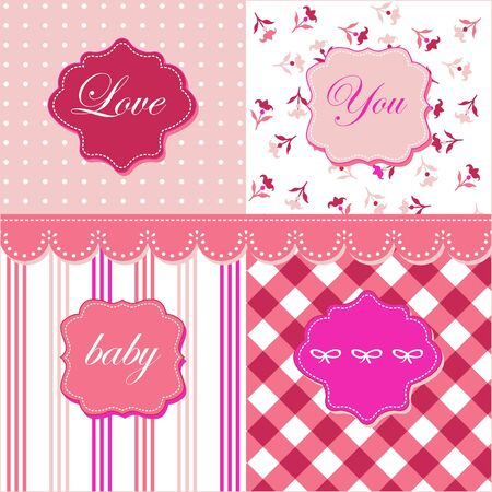 Lovely pink patterns, frames and cute romantic backgrounds  Vector