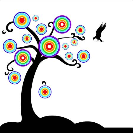 Fantasy tree with bird Stock Vector - 18176122
