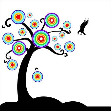 Fantasy tree with bird Stock Vector - 18176122