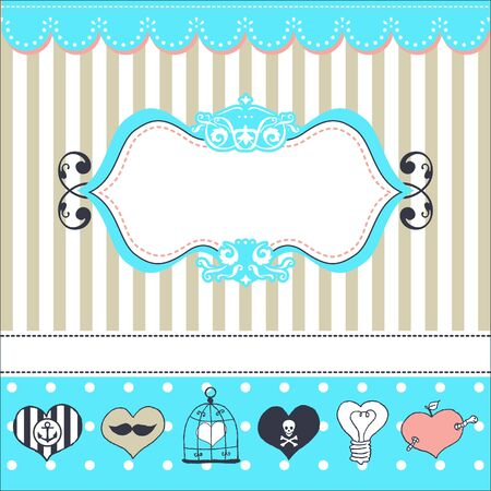 Lovely drawn card with darling hearts Stock Vector - 18180328