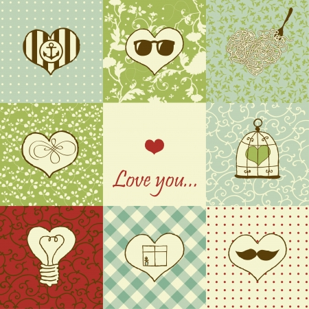 Stylish set of nine hearts  Stock Vector - 18180337