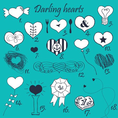 Set of stylized hand drawn hearts  Stock Vector - 18180333
