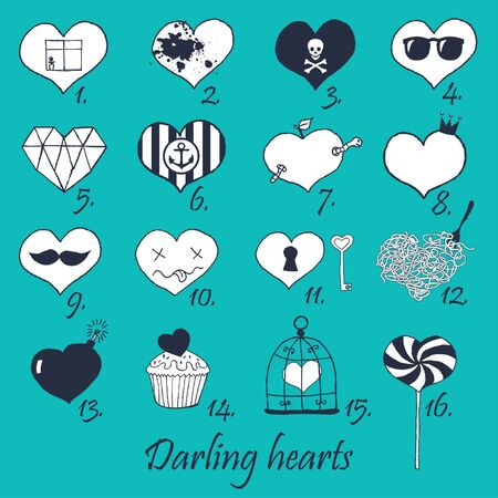 candy hearts: Set of stylized hand drawn hearts