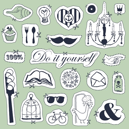 Vector set of hand drawn objects in vintage style  Stock Vector - 18180335