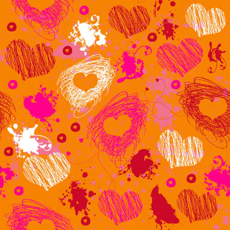 Bright seamless pattern with hearts  Vector