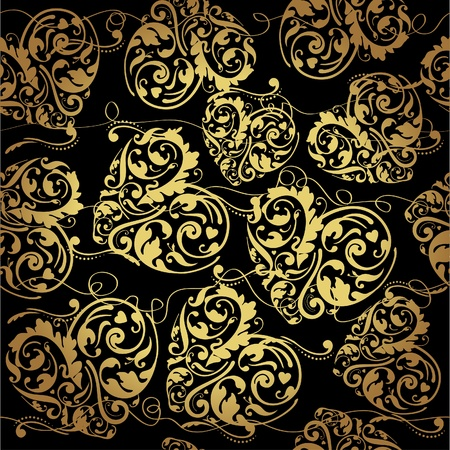 Elegant black golden seamless pattern
