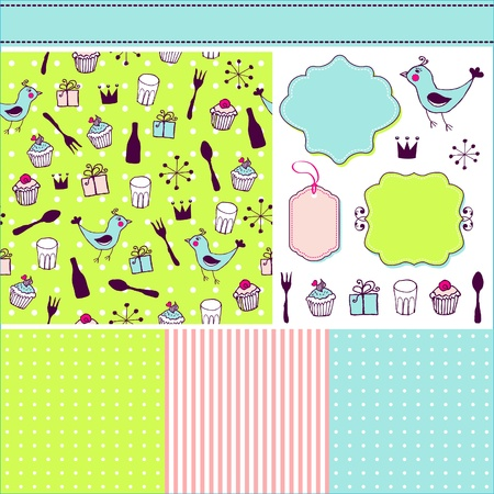 Cheerful set of patterns, frames and hand drawn elements  Vector