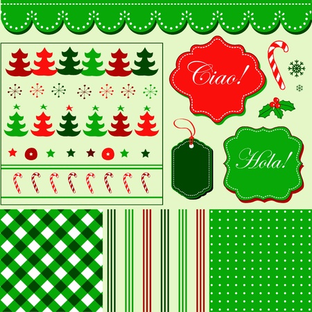 Christmas red green pattern, frames and holiday backgrounds  Vector