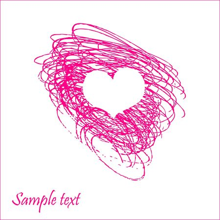 Lovely card with hand drawn heart Stock Vector - 18197367