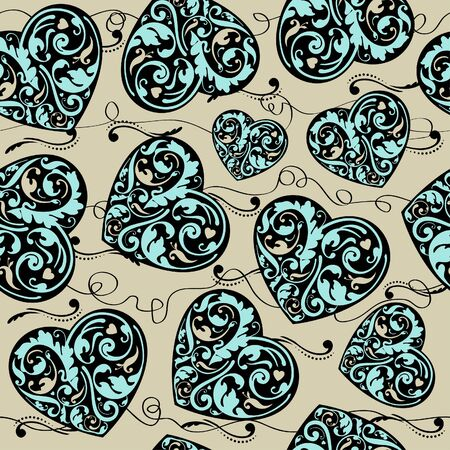 Elegant laced seamless pattern with hearts  Vector