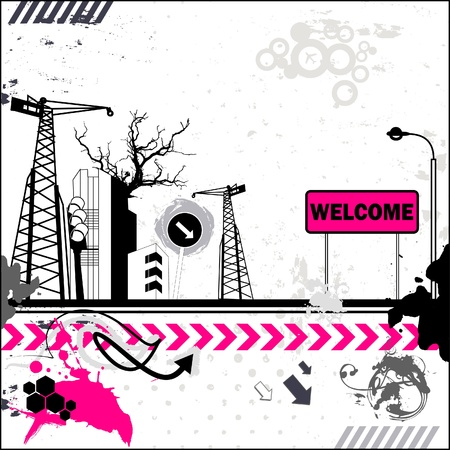 Grunge welcome card Stock Vector - 18197418