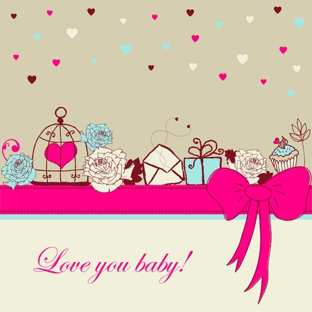 a pink cell: Card - Love you baby!  Illustration