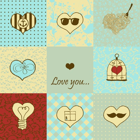 Stylish set of nine hand drawn hearts Stock Vector - 18224876