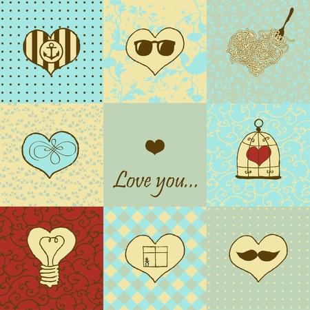 Stylish set of nine hand drawn hearts Stock Vector - 18224876