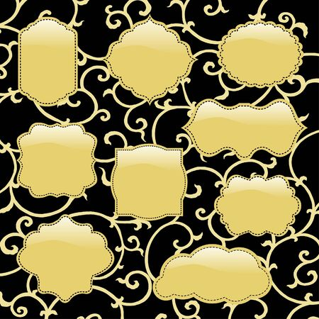 golden frames: Shiny golden frames with black background  Illustration