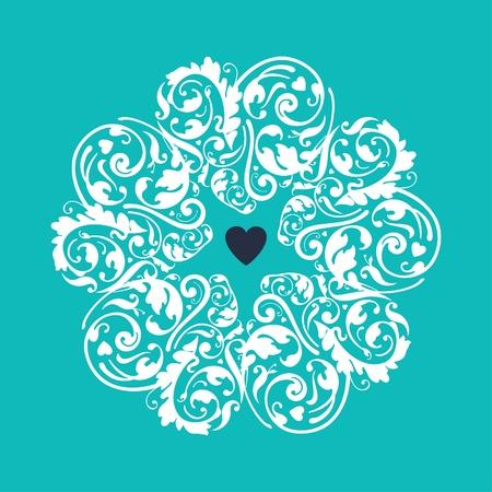 turquoise swirl: Circle heart ornament