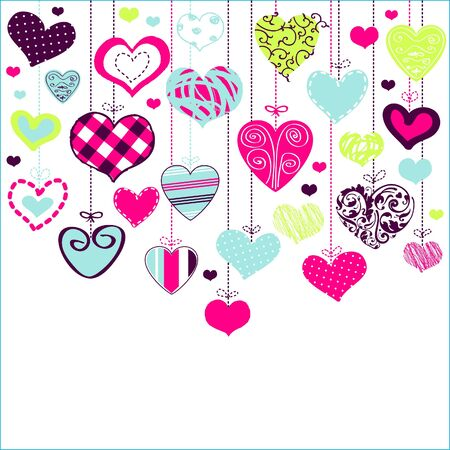 Romantic card with stylized hearts Stock Vector - 18224854