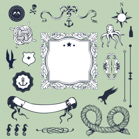 Nautical set with elements for Your design  Vector