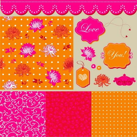 Bright floral pattern, frames and romantic backgrounds  Vector