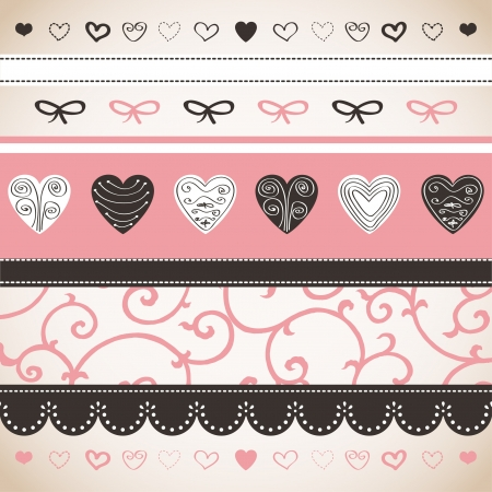 Romantic pattern with hand drawn hearts  Illustration